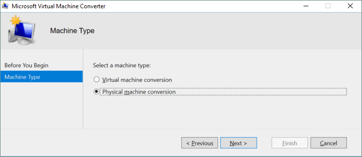 Selecting a machine type for conversion