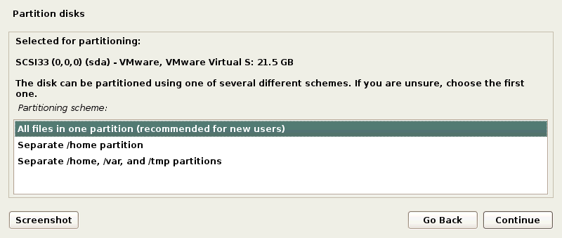 How to Install Kali Linux on VMware: Selecting a partition scheme