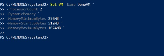 Setting Up the VM Memory in PowerShell