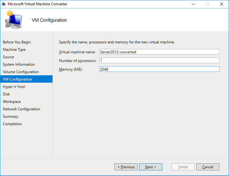 Setting configuration for the destination VM.