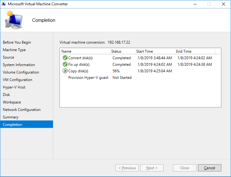 Conversion of a Physical Machine to a Hyper-V VM