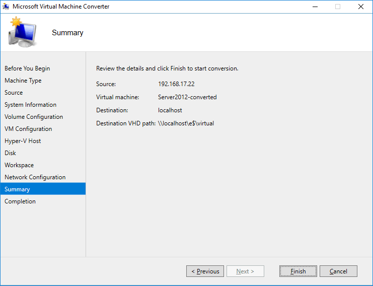 The summary screen of Microsoft Virtual Machine Converter.