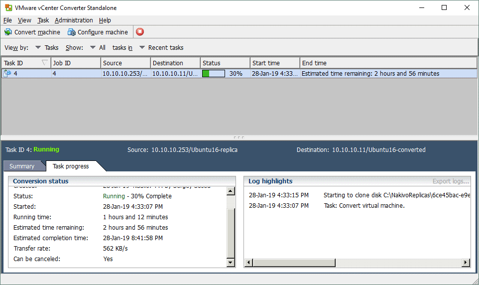 A Hyper-V VM is being converted from Hyper-V format to VMware ESXi format.