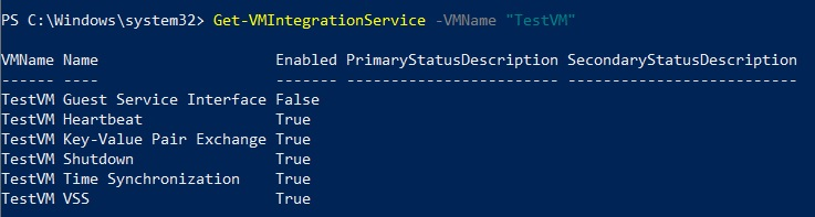 Checking the Status of Hyper-V Integration Services