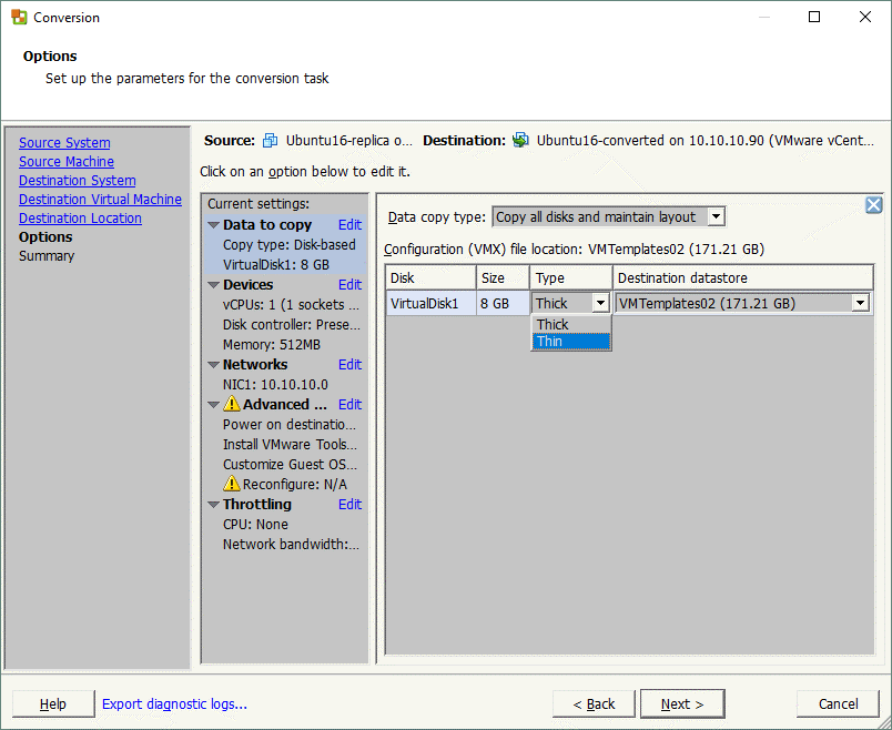 Configuring options for the VM conversion task in VMware vCenter Converter.