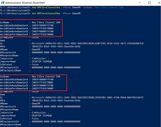 Creating Fibre Channel HBA for Hyper-V 2012 R2