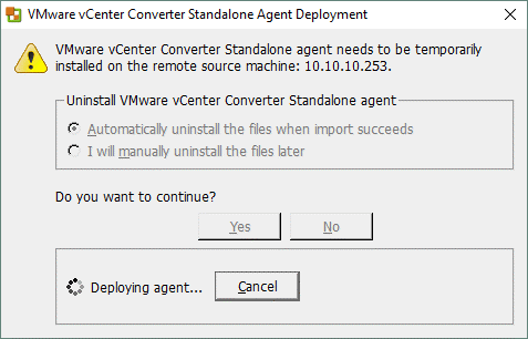 Deploying VMware vCenter Standalone Agent to a source Hyper-V Server.