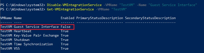 Disabling Hyper-V Integration Services in PowerShell