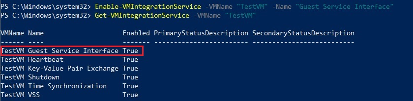 Enabling Hyper-V Integration Services in PowerShell