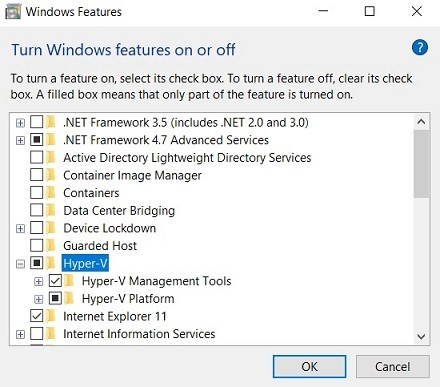 How to install Hyper-V with Control Panel