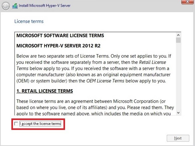 How to install Hyper-V_License terms