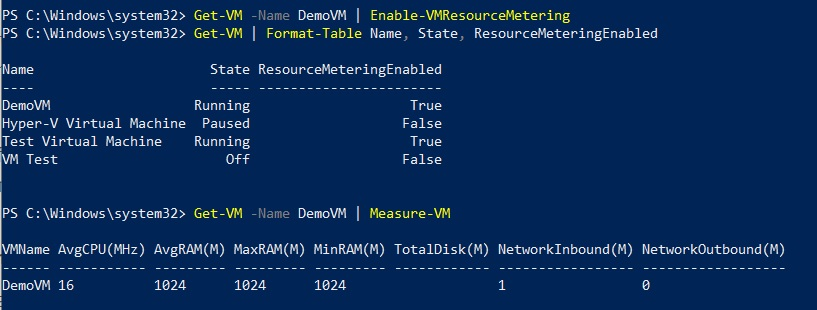 Resource metering in Hyper-V 2012 R2