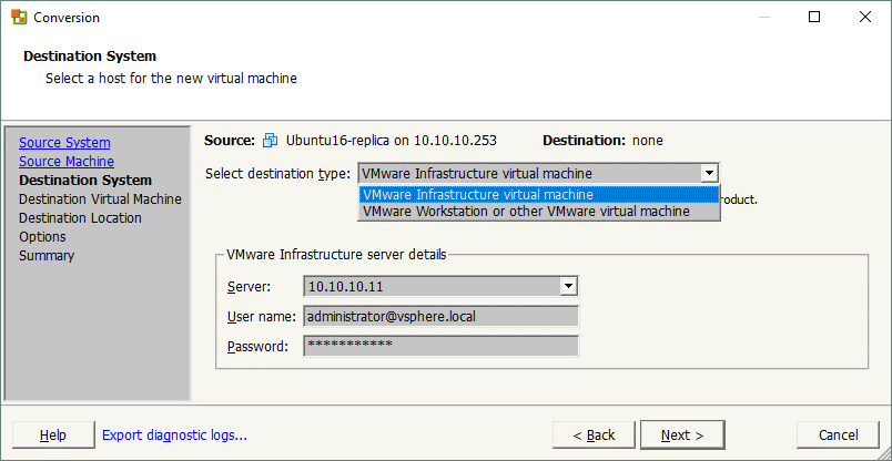Selecting a VMware destination system.