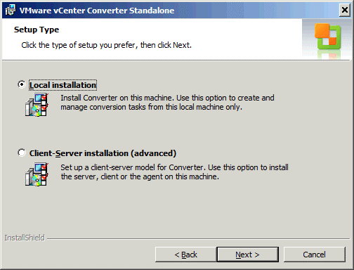 Selecting the installation options for VMware vCenter Converter Standalone.