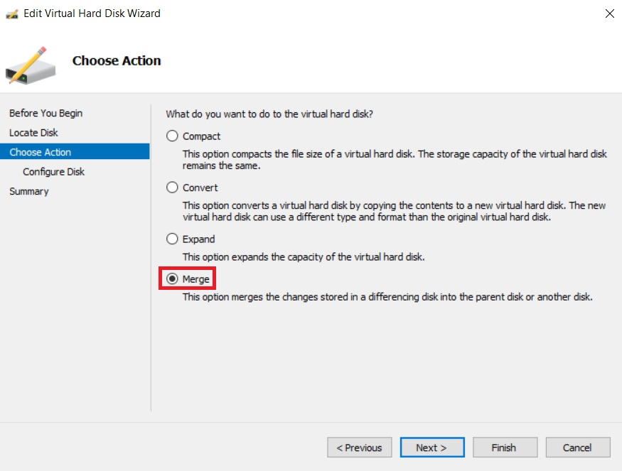 Selecting the option Merge Hyper-V Snapshots