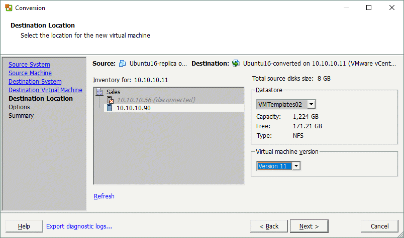 Setting the location for the destination VM.