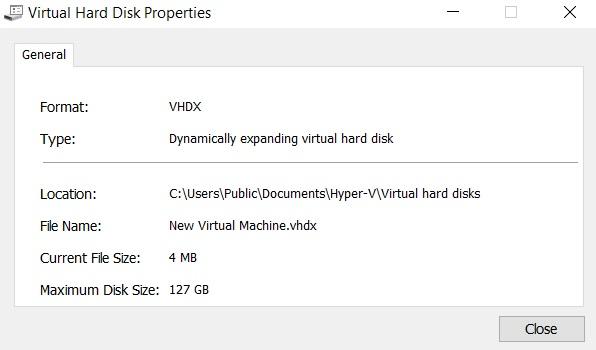 Virtual Hard Disk Properties in Hyper-V Manager