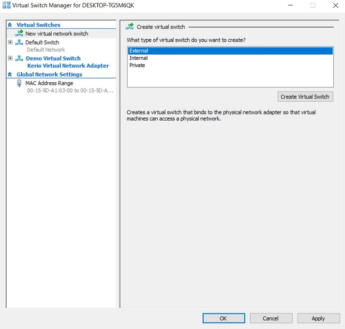 Virtual Switch Manager in Hyper-V Manager