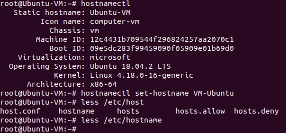 Checking a hostname in Ubuntu.