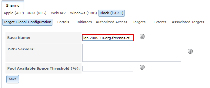 Checking the base name for the iSCSI Target in the web interface of FreeNAS.