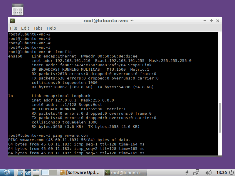 Checking the network settings on Linux running on the nested VMware VM.