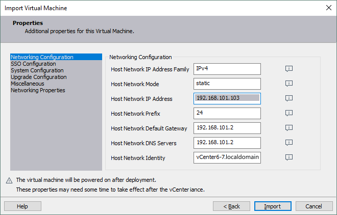 Configuring networking during deployment of vCenter Server Appliance from the OVA template.