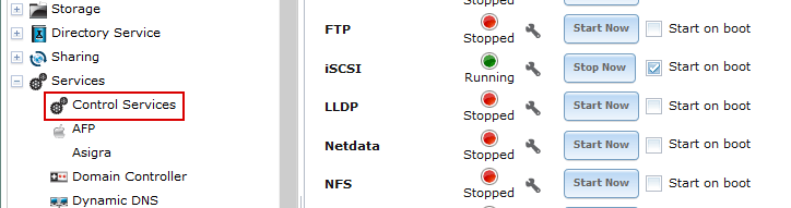 Configuring the iSCSI service that must be running on FreeNAS.