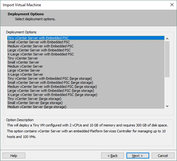 Configuring vCenter Server Appliance options during deployment from the OVA template