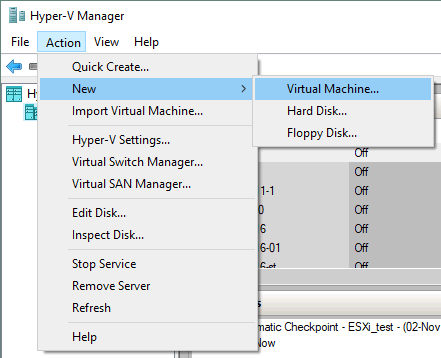 Creating a new VM in Hyper-V Manager.