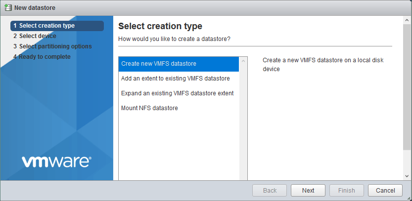 Creating a new VMFS datastore.