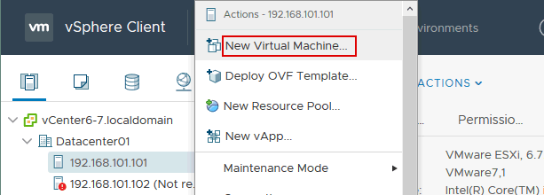 Creating a new virtual machine with VMware vSphere Client.
