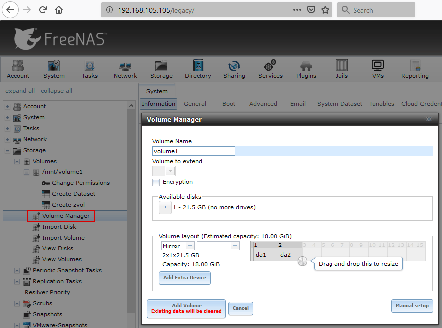 Creating a new volume in FreeNAS volume manager.