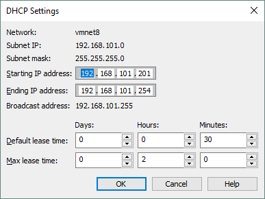 DHCP settings opened in Virtual Network Editor