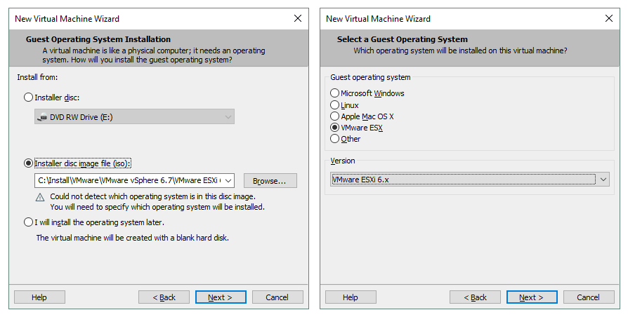 Select the installer disk image and a guest operating system for creating a VM.