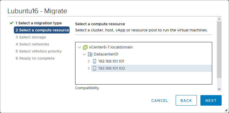 Selecting a compute resource for running a VM after migration.