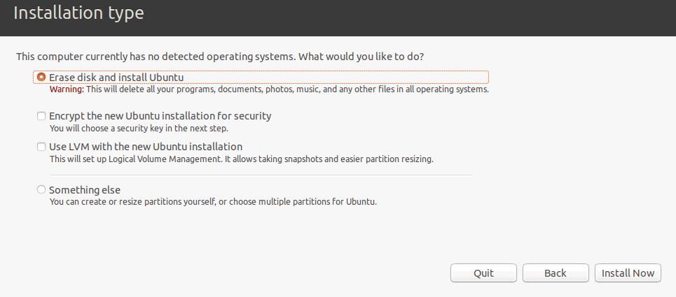 Selecting the installation type for Ubuntu.