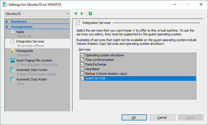 Selecting which Integration Services must be enabled on a Hyper-V VM running Ubuntu.