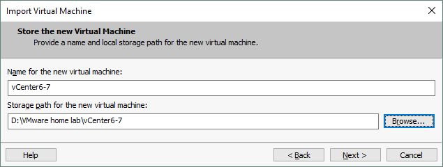 Setting the VM location.