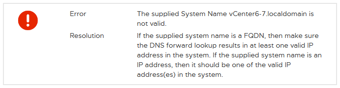 The DNS error is displayed when deploying vCenter Server Appliance.
