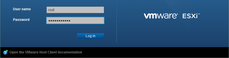 The Login screen of VMware Host Client.