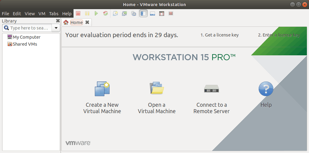 The interface of VMware Workstation 15 for Linux.