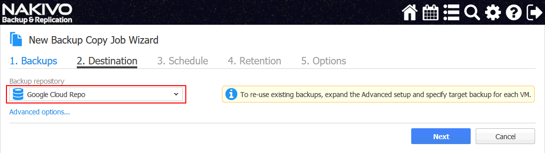 A backup copy job - setting destination options for storing a backup to Google Cloud with NAKIVO Backup & Replication