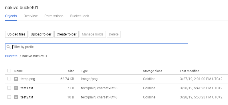 A view from the web interface of Google Cloud Platform - checking the files written from the Linux instance to which the bucket is mounted.