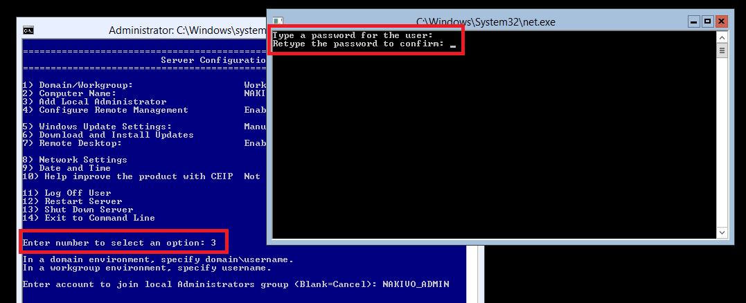Adding Local Administrator in Hyper-V Core 2012 R2