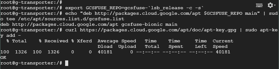 Adding a package repository to the Google instance running Linux for installing gcsfuse.