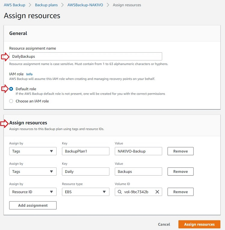 Assigning Resources in AWS EC2 Backup