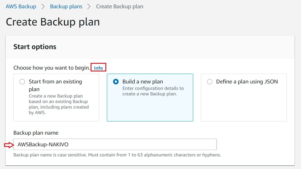 Building a New Plan in AWS EC2 Backup