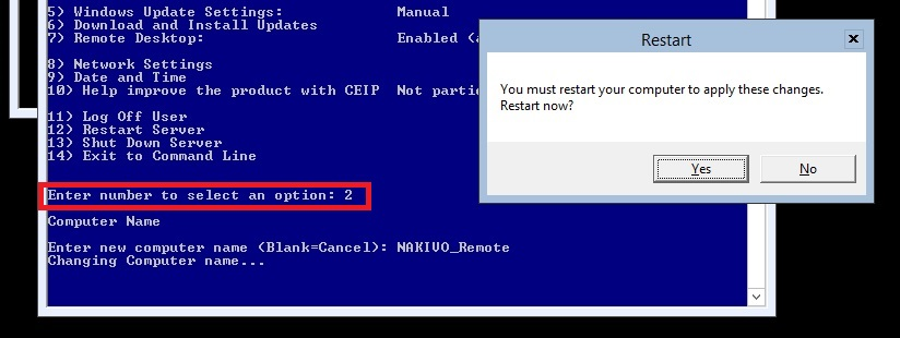 Changing the computer name in Hyper-V Core 2012 R2