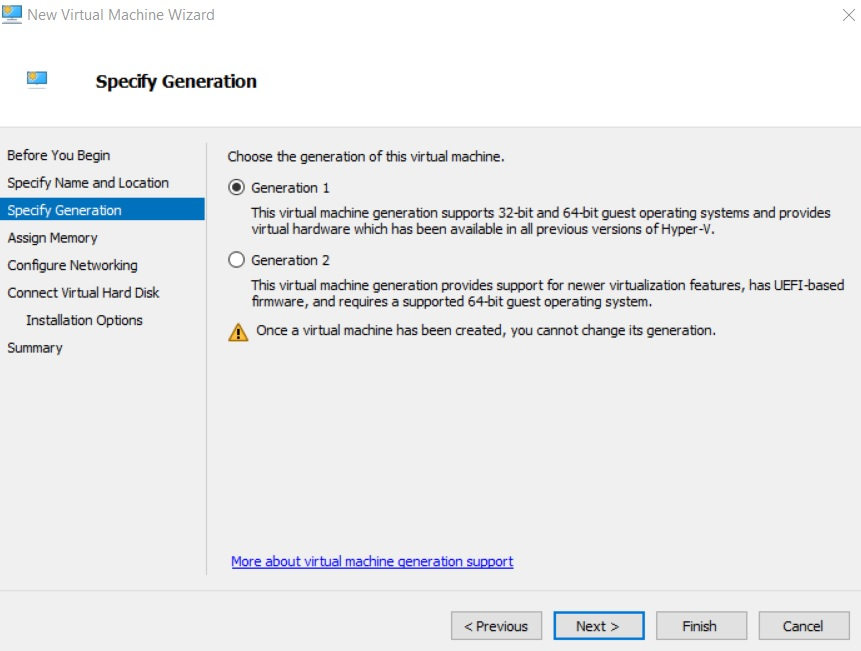Choosing the VM generation (Hyper-V Best Practices)