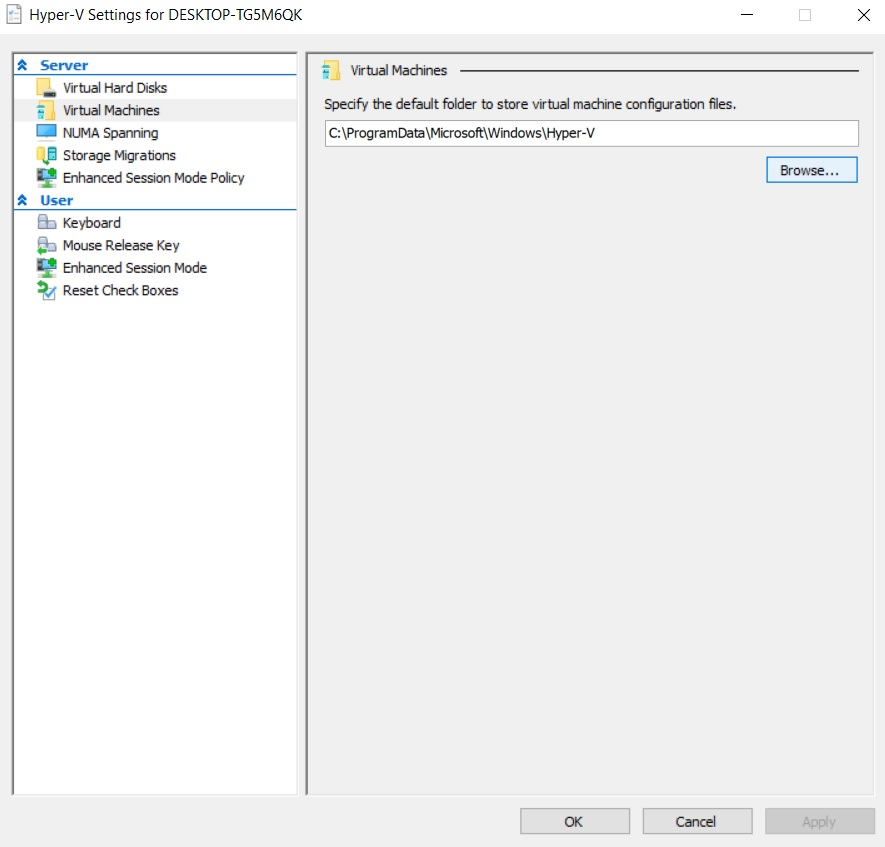 Choosing the default location (Hyper-V Best Practices)